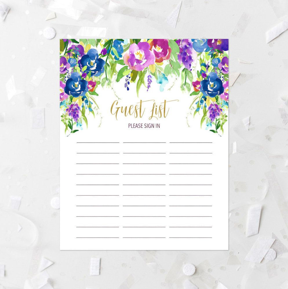 Floral Guest List Printable Guest List Sign-In Sheet Lavender ...