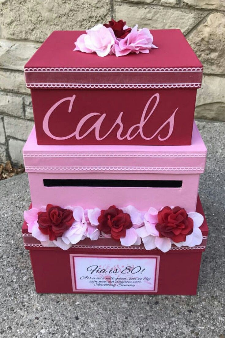 Custom Wedding Card Box 3 Tier Card Holder Square Red And Pink