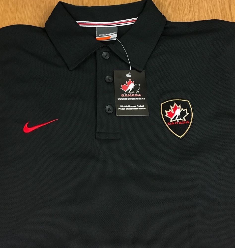 Team Canada Hockey Nike Bauer Dri Fit Mens Polo Shirt Black New