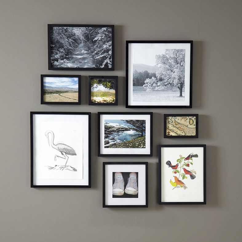 Birch Lane Memento Wood Frame, Black - This versatile wood picture frame can be hung vertically, horizontally, or used as a tabletop display. Finished in satin white with a top quality wood backing, this frame is available in nine sizes.
