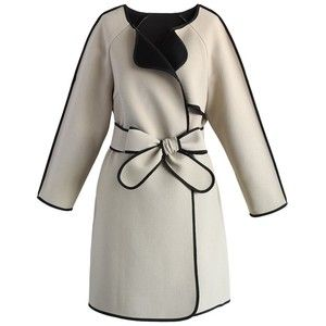 Chicwish Stylin' Attraction Nude Coat with Contrast Piping
