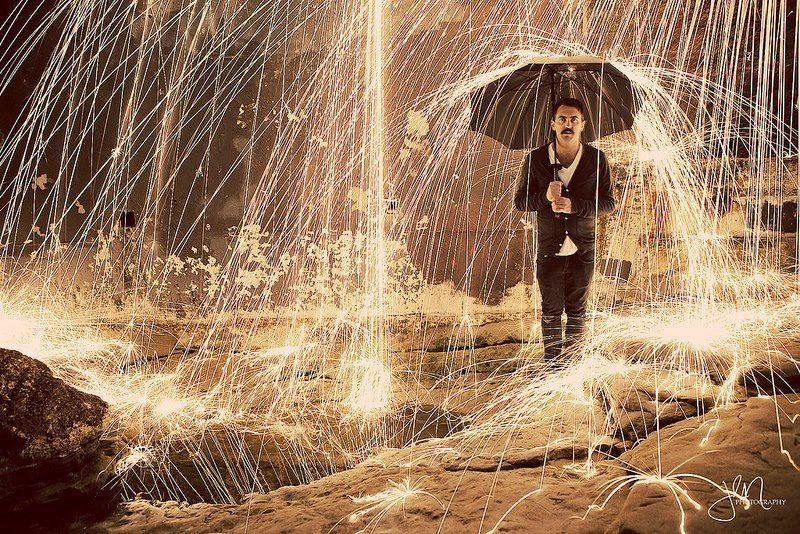 Rain of Fire. (long exposure of steel wool on fire.) | Fire ...