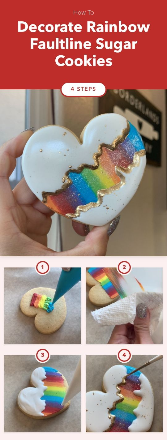 Decorate Rainbow Faultline Sugar Cookies
