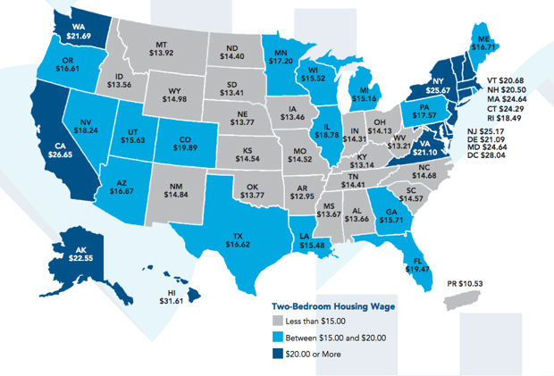 Mapping The Hourly Wage Needed To Rent A Bedroom Apartment In - Highlight us map