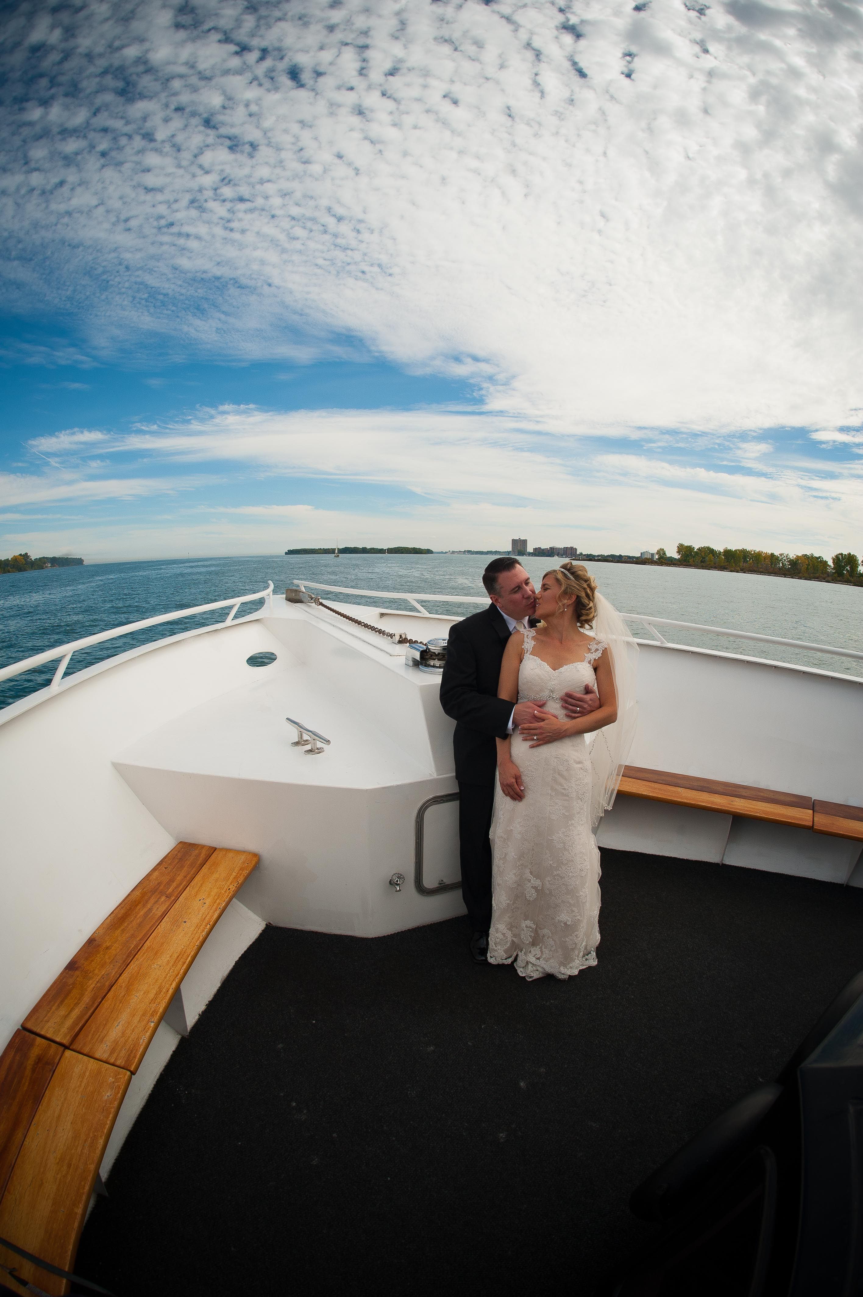 Bride and groom cruising their way to Downtown Detroit on