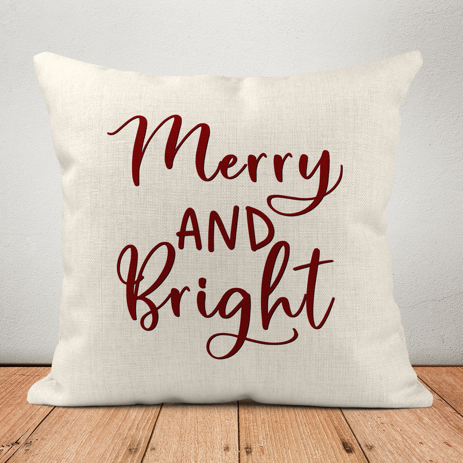 Merry And Bright, Gift for Her, Christmas Pillow, Christmas Gift, Custom Pillow, Pillow Cover, Home Decor,Gift for Wife,Gift for Couple,PI35