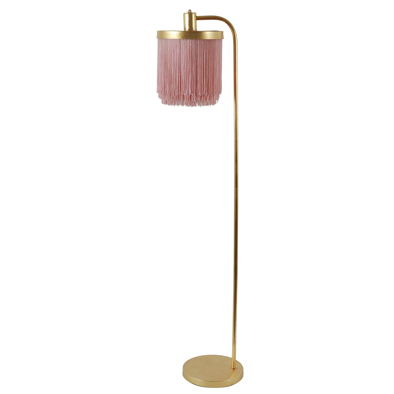 Framboise Fringe Chandelier Shade Floor Lamp, Pink and