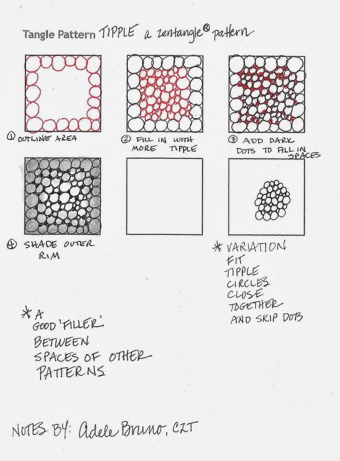 Tipple Original Zentangle Pattern Tips For Tangling