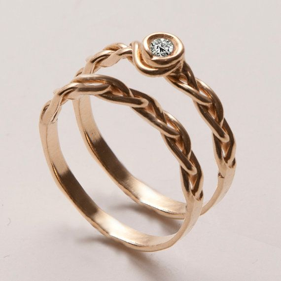 Braided Wedding Ring Set 14K Gold and Diamond by doronmerav, Haifa, Israrel