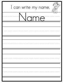 Name Practice Standard Print Names Kindergarten PreK Set 1 Editable