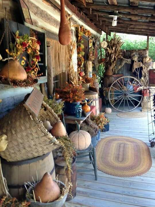 A Porch Full Of Fall Primitives Porch Decorating