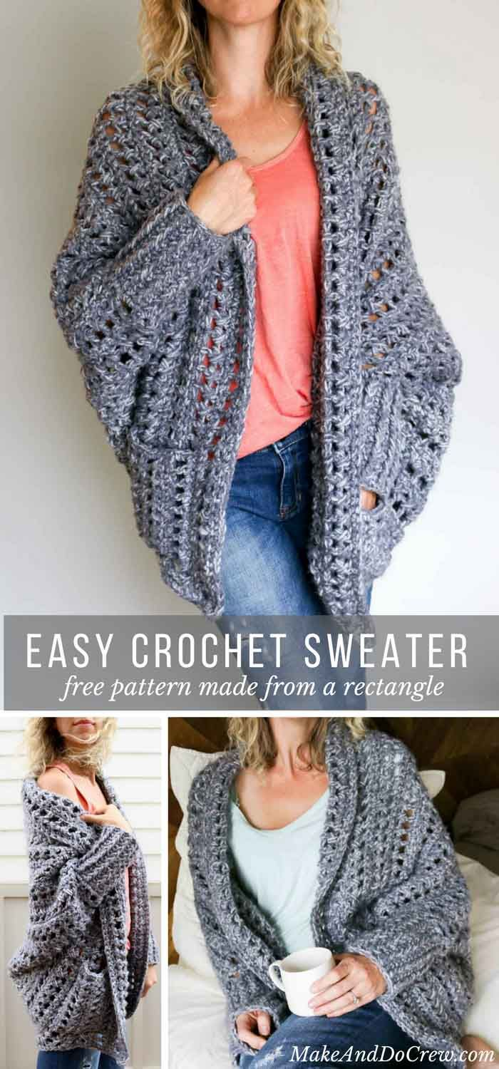 Creatively constructed from a simple rectangle this flattering chunky crochet sweater comes together easily with