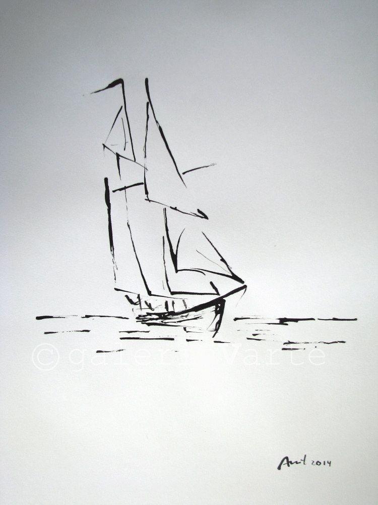 Original ink drawing sailboat europeanstreetteam marines peintures pinterest dessin - Voilier dessin ...