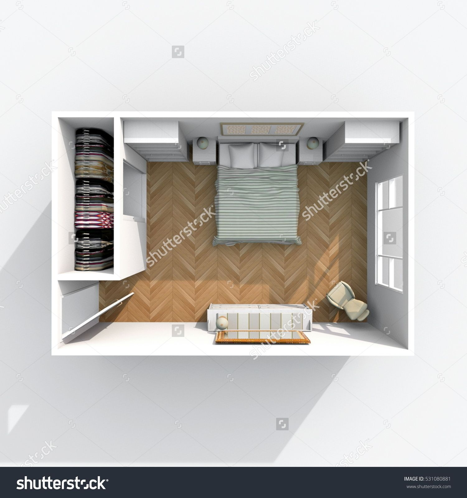 3d interior rendering of furnished bedroom with wardrobe and brown floor