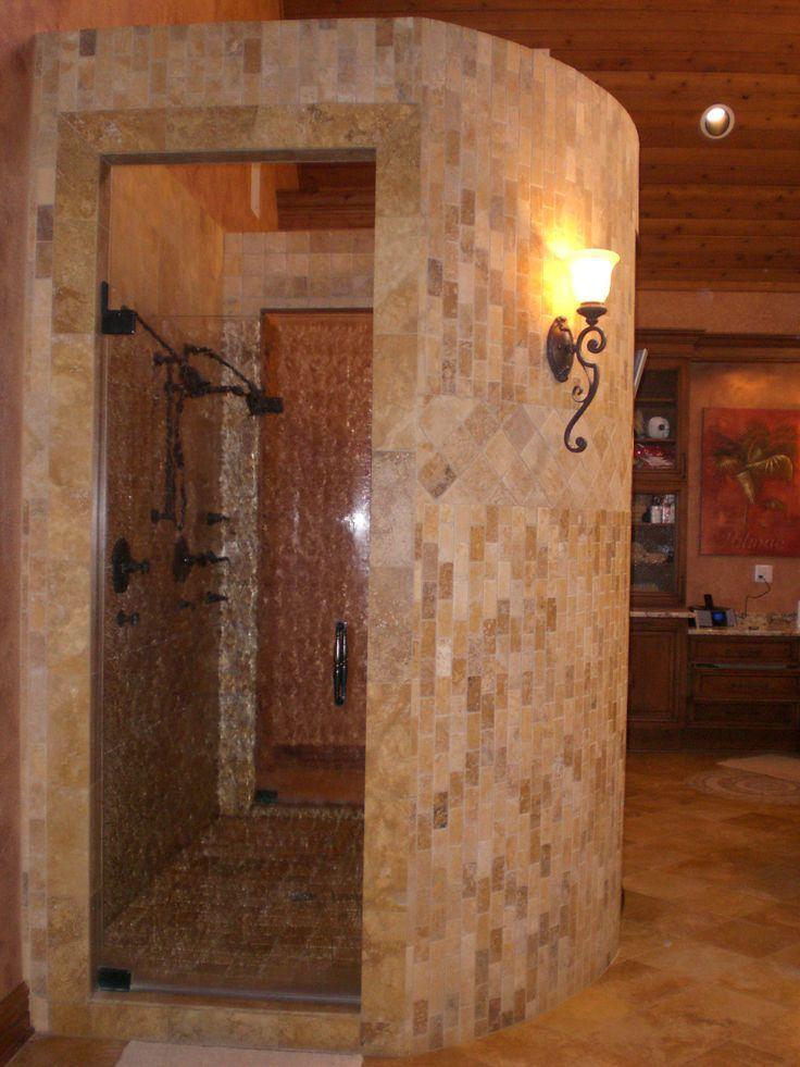 Walkthrough Master Bathroom Shower Designs Walk Through Shower Walk Through Shower With Antique Glass Door Showers Without Doors Rustic Shower Walk In Shower