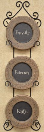 Hanging 3 Plate Rack Black Metal Wire Country Primitive Wall Decor ...