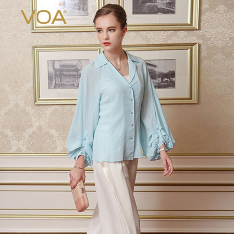 382728f9 Click to Buy << VOA Brand Silk Women Blouses Summer 2017 New Fashion Long  Sleeves Puff Sleeves Turn-Down Collar Camisetas Mujer Top Female B7709  #Affiliate