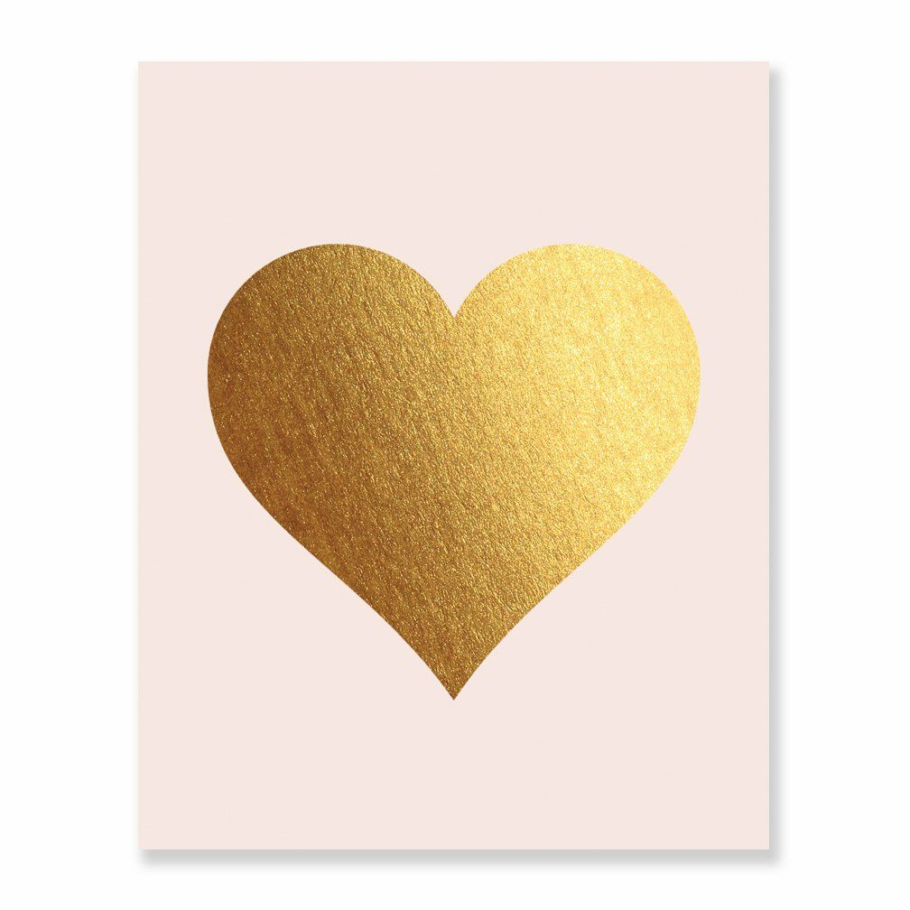 Gold Foil Heart Print Blush Pink Wall Art Modern Heart Decor Love ...