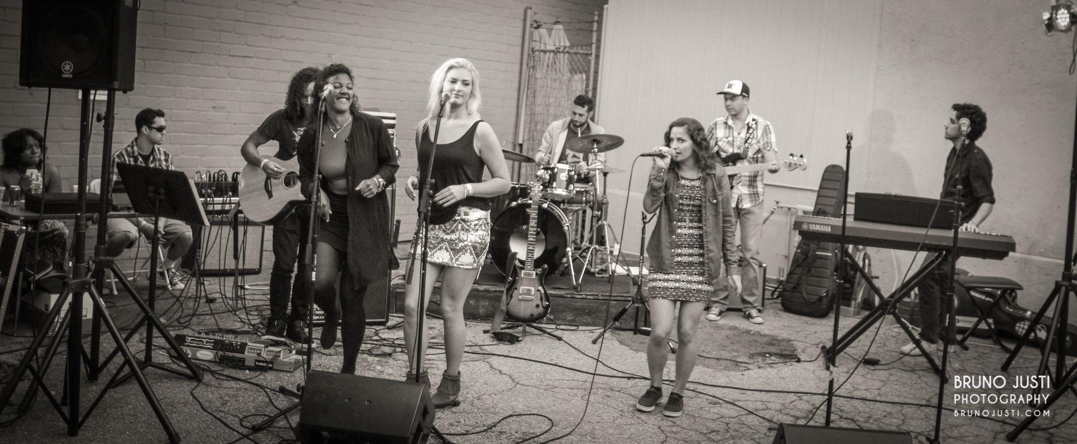 Band: The Somethings Left to right: Anwar G., Felicia S., Mikaela H., Nick B., Christina P., Alfredo L., Tyler B. Photo courtesy: Bruno Justi Photography