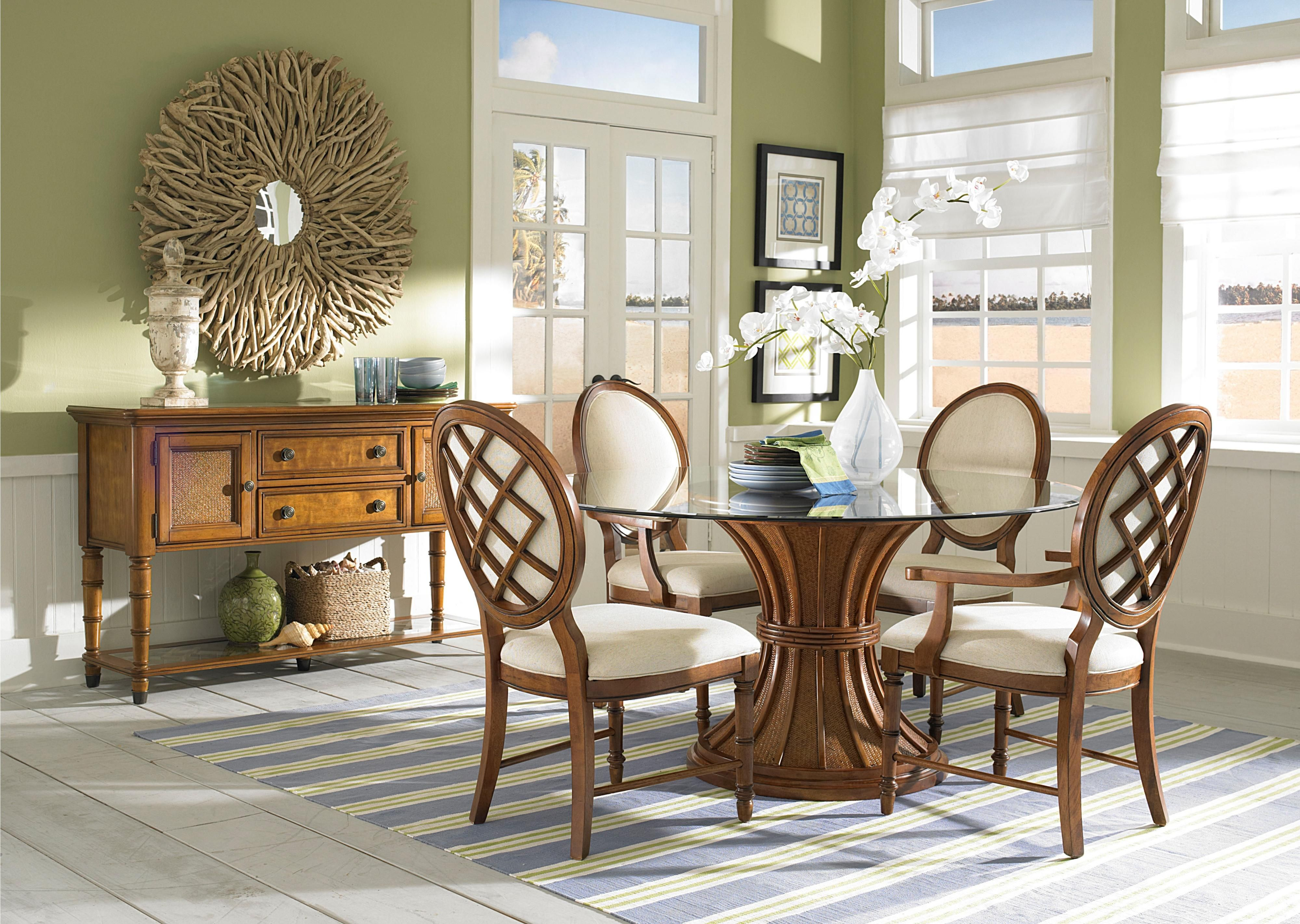 Merveilleux Furniture Round Glass Top Dining Table With Round Brown Wooden Base  Connected By Brown Wooden Dining Chairs On The Rug: Mesmerizing Dining Room  Furniture ...