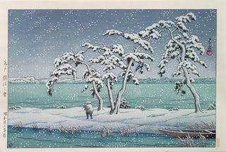 1947 - Kawase Hasui - Snow at Hi Marsh, Mito,