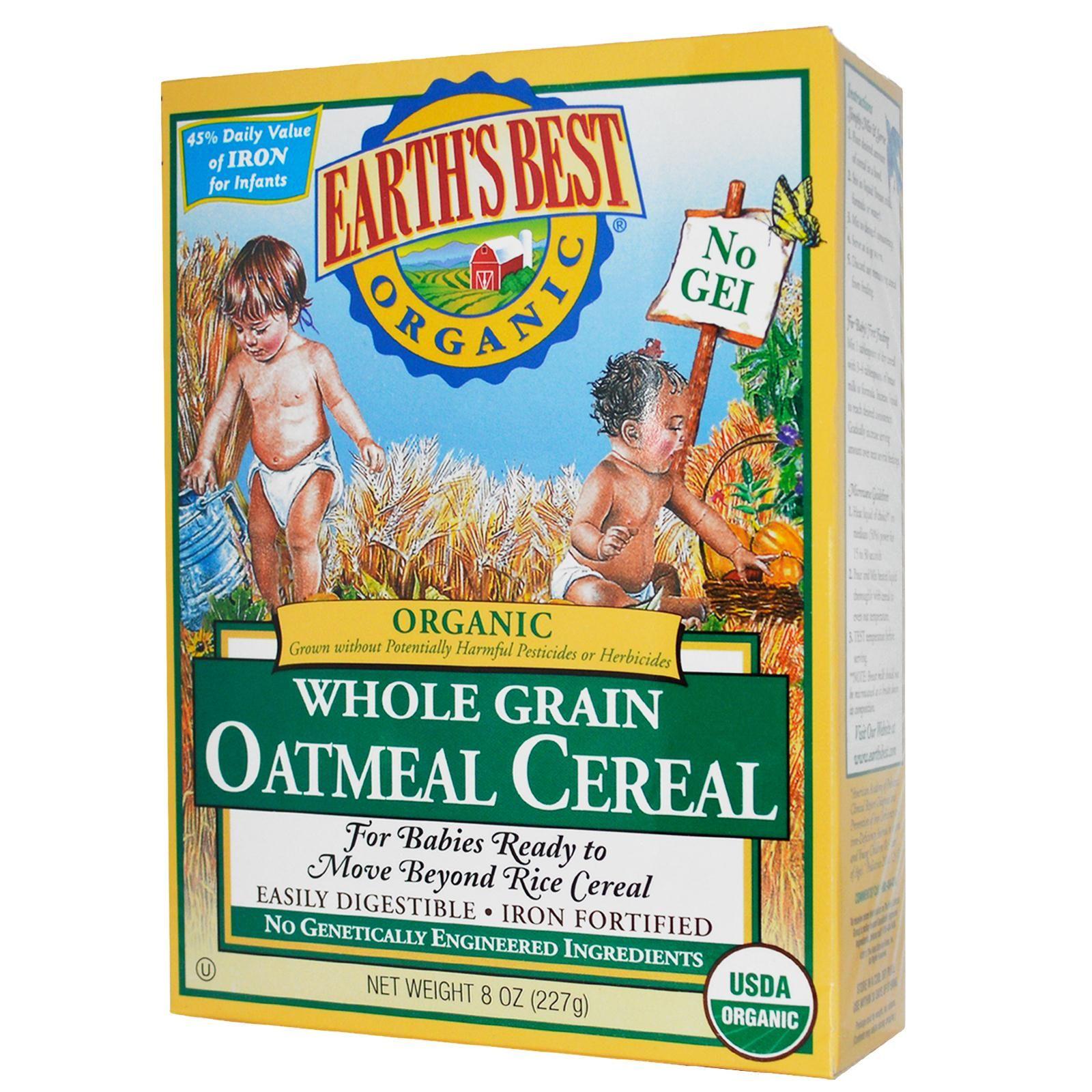Earth's Best, Organic Whole Grain Oatmeal Cereal, 8 Oz