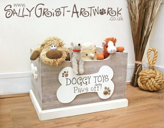 Doggy Toy Box in Driftwood Effect (complete with the cutest pawprint pebbles!)