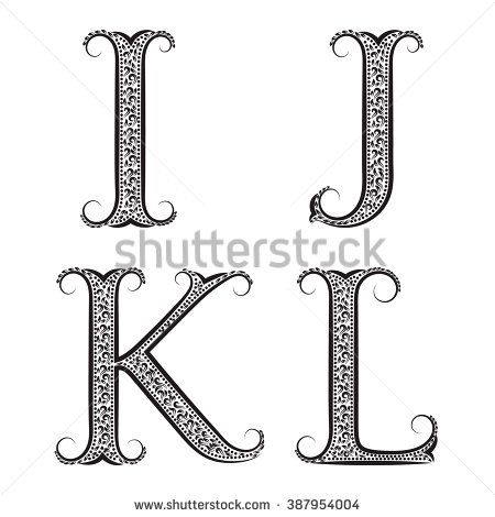I J K L Vintage Patterned Letters Font In Floral Baroque