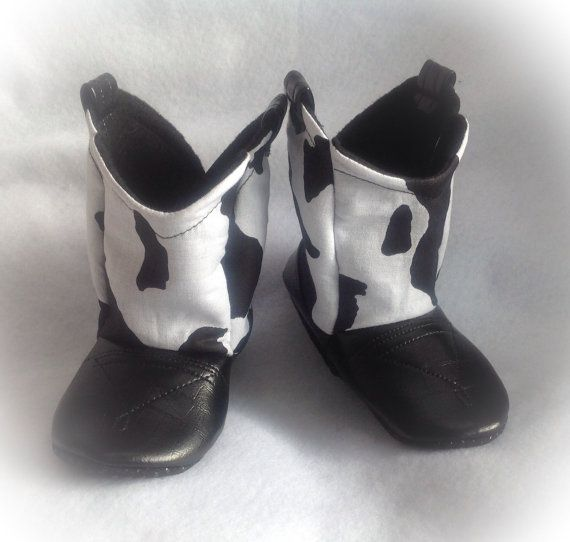 bd4b41bff0af1 Black & White Cow Print Baby Cowboy Boots with Leather | Preemie ...