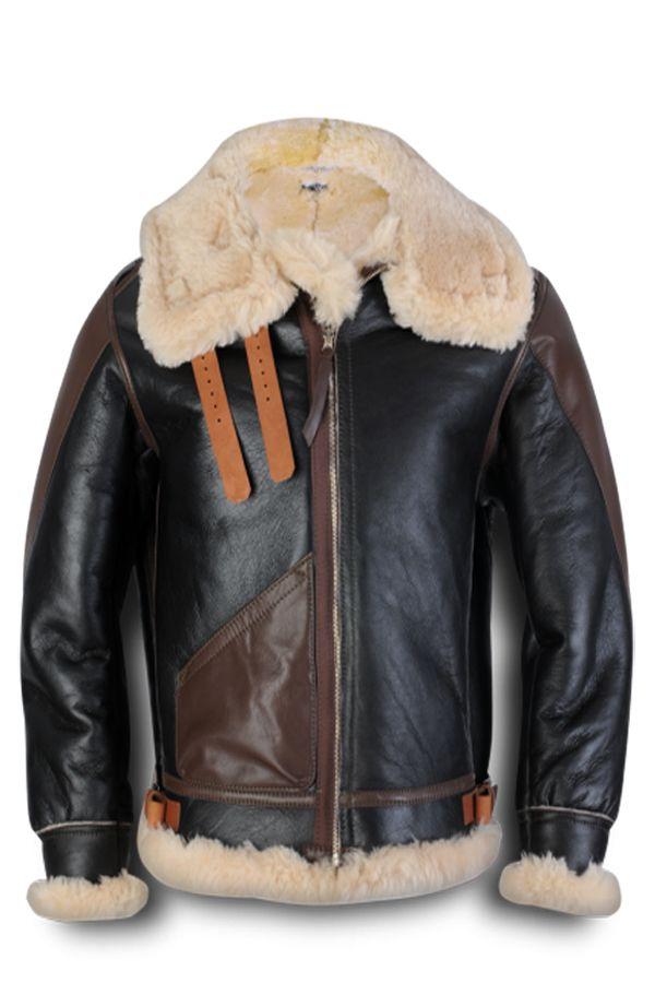 d4831fa5f86 Leather Jacket For mens, Flesh Logo Style, Origial Lambskin Leather,  Slimfit. Maynard B3 Shearling Flight Bomber Jacket