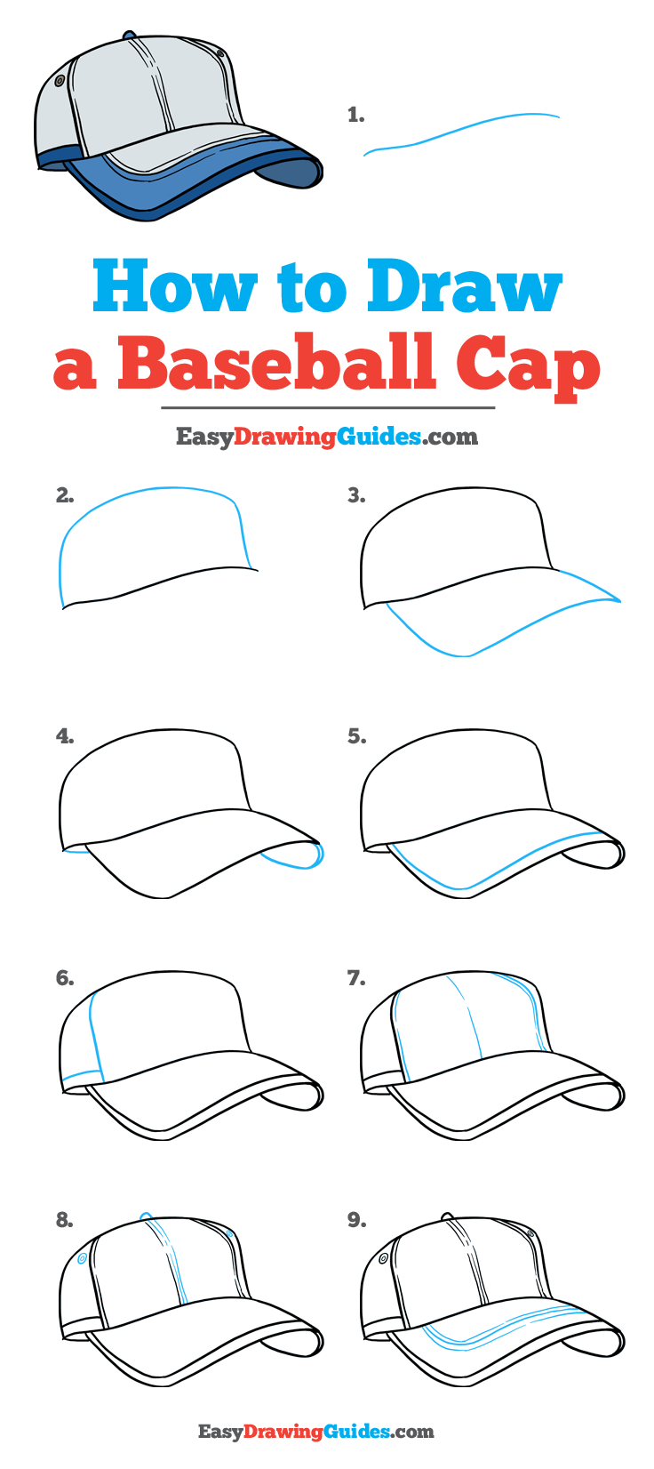 How To Draw A Baseball Cap Really Easy Drawing Tutorial Drawing Tutorial Easy Drawing Tutorials For Kids Drawing For Beginners