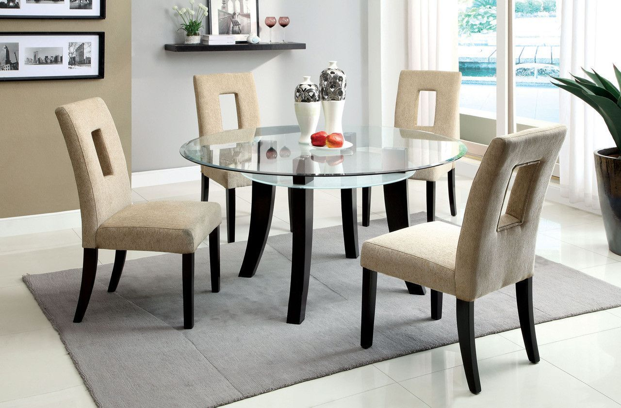With 4 Chairs 5pc Set Grandam I Collectionadd Modern Style To Any Dining Room This Gl Top Table Frosted And An Open Shelf Underneath