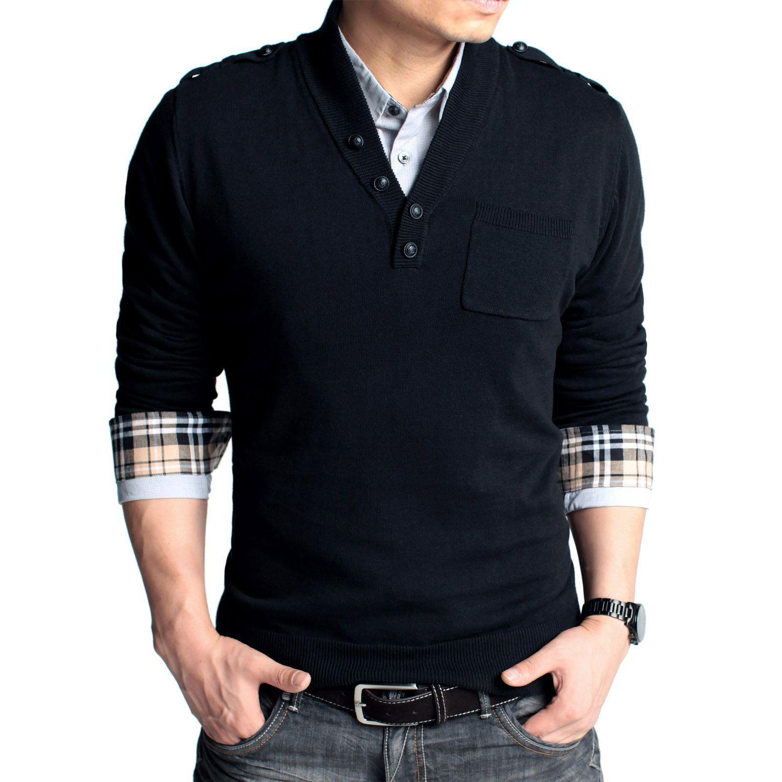 Casual menu0026#39;s fashion | menu0026#39;s v-neck sweater simple fashion korean slim personalized button ...