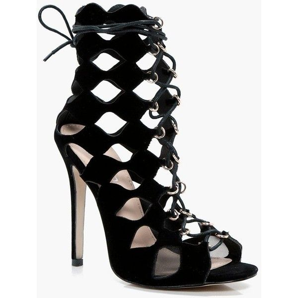 6fb7c4815a3cb Boohoo Natasha Cage Ghillie Lace Up Heels ($70) ❤ liked on Polyvore  featuring shoes, sandals, lace up sandals, high heels sandals, floral high heel  sandals ...