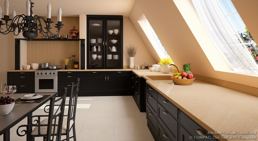 Captivating A Traditional Black Kitchen With Low Vaulted Ceilings And Beige Compac  Quartz Countertops #12 (