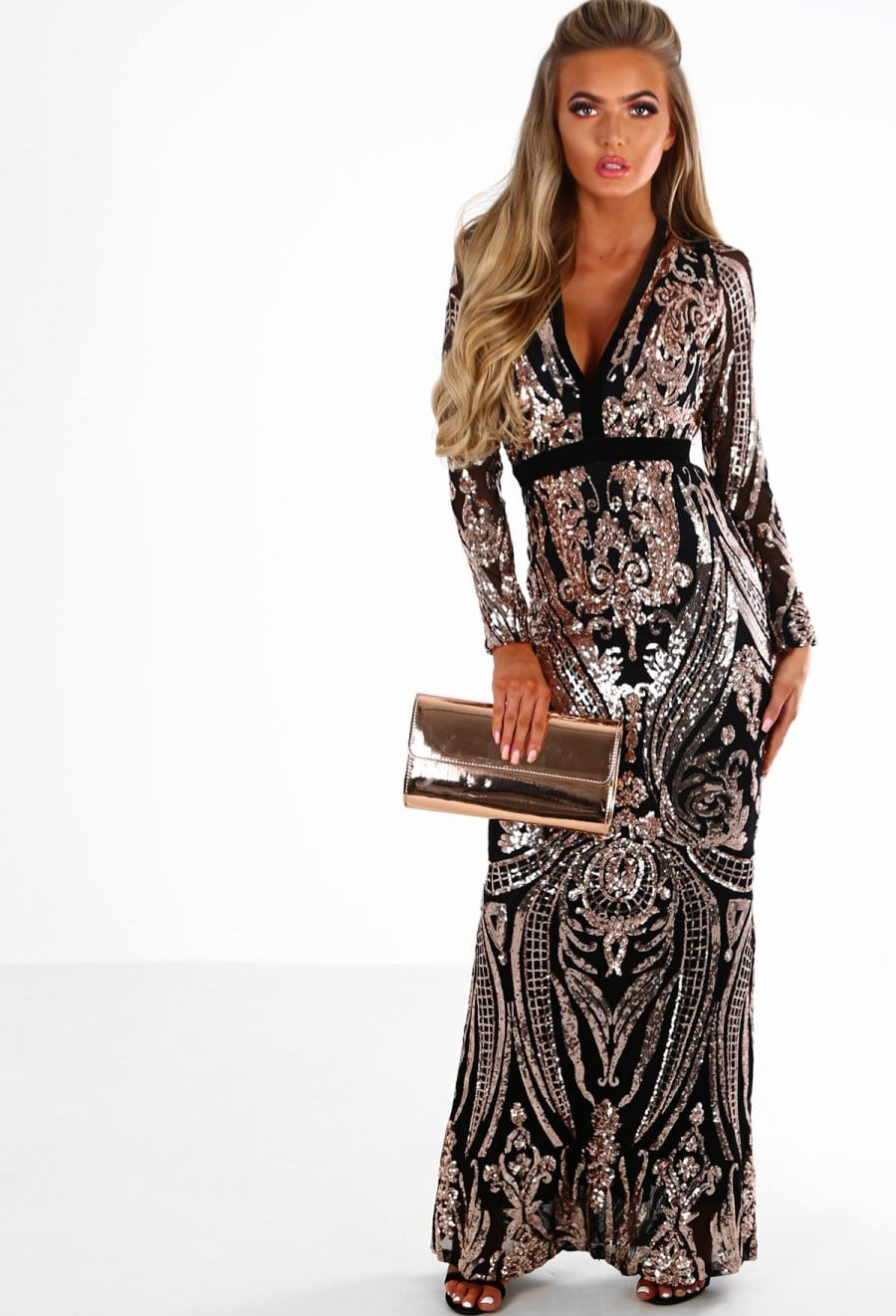 PREMIUM In The Spotlight Black and Rose Gold Sequin Long Sleeve Maxi Dress   21c389192076