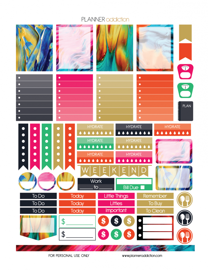 Weekly abstract paint planner addiction etiquetas for Paint planner