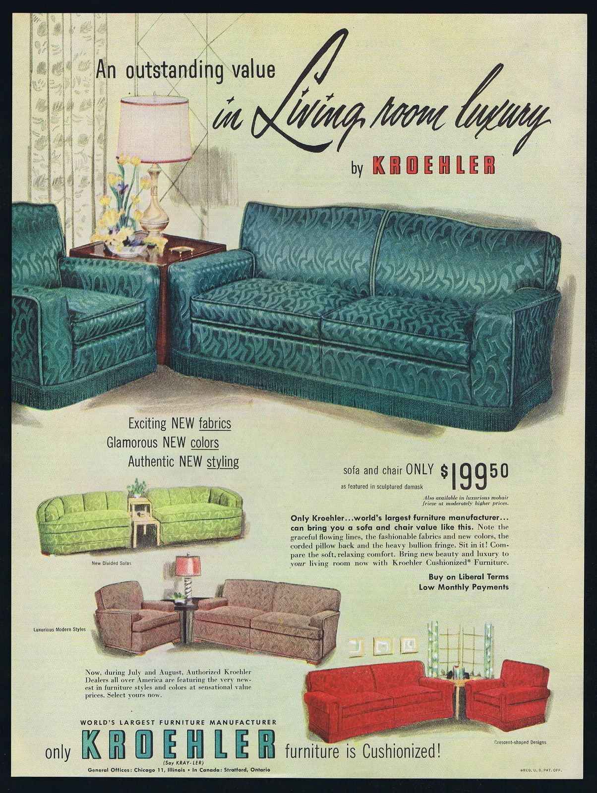 1951 Kroehler Living Room Furniture Sofa Chair Luxury Vintage