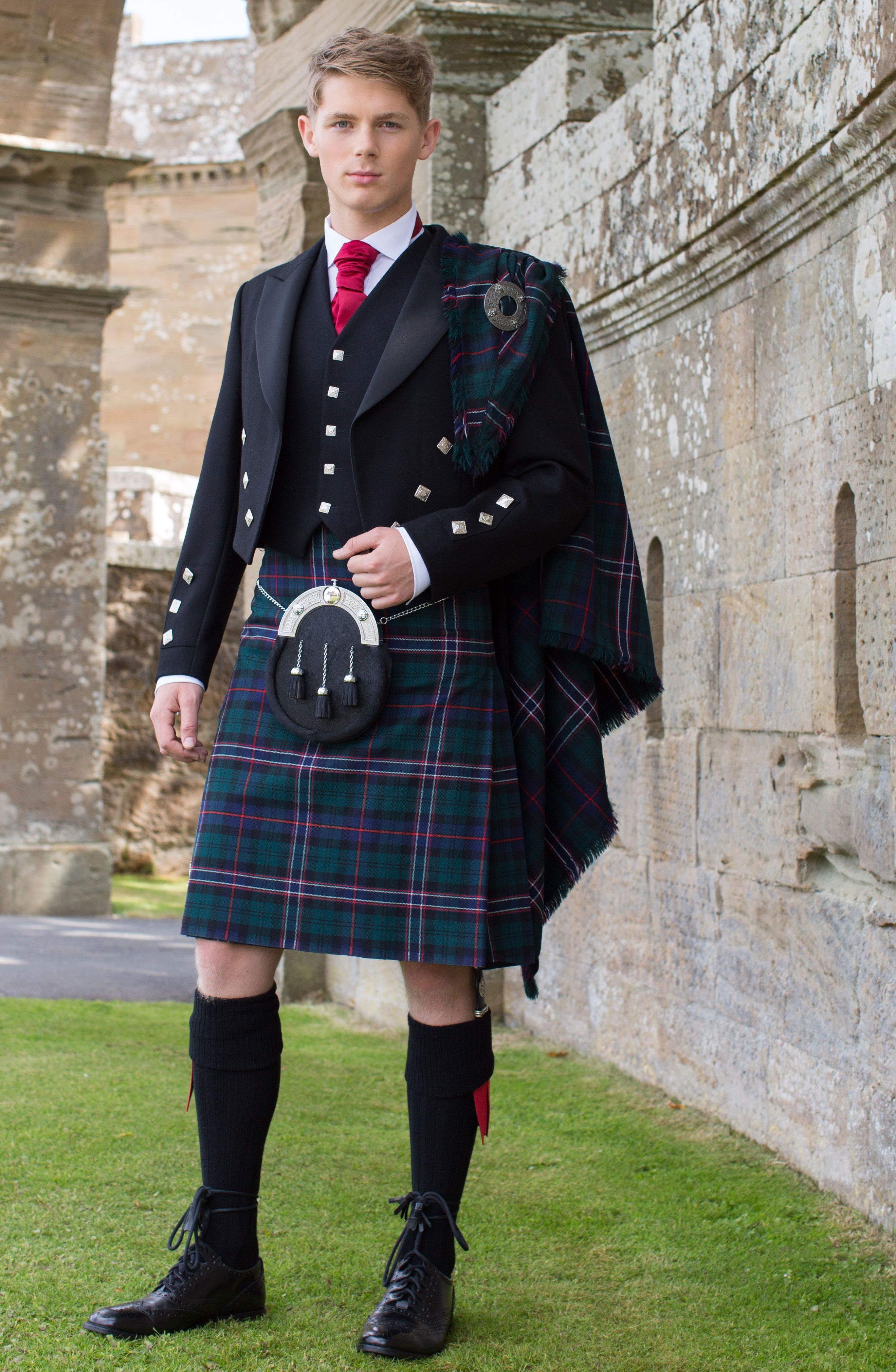scottish national tartan with prince silver button