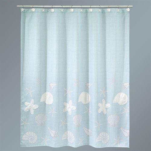Sequin Shells Pale Aqua Coastal Shower Curtain With Images