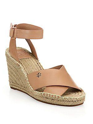928dd4636c38 Tory Burch Bima Leather Crisscross Espadrille Wedge Sandals