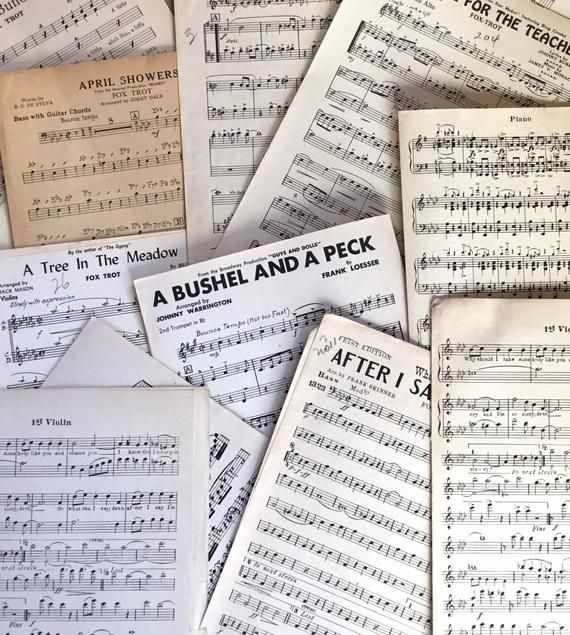 Vintage Sheet Music lot of 20 Pages Paper Ephemera Craft in