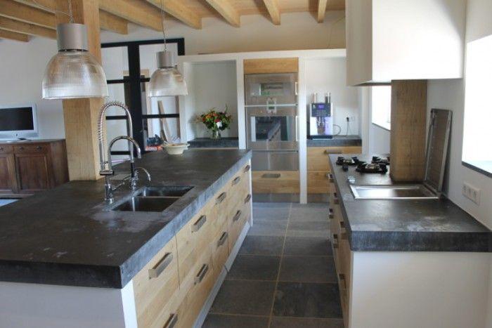 Mooie houten keuken met betonnen blad google zoeken wonen pinterest houten keuken - Hout en witte keuken ...