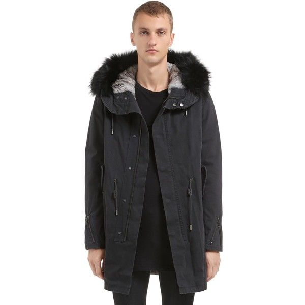 78a9deeeb489 Yves Salomon Men Fitted Canvas Parka W  Fur Trim   Lining ( 3