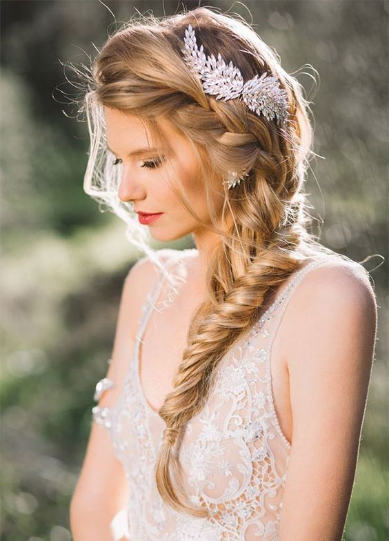 side twisted braid hairpiece wedding