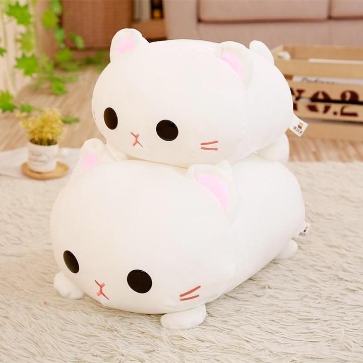 These Sweet Kawaii Kitty Plush Pillows Just Beg To Be Cuddled Available In Two Sizes 35cm And 45cm Soft And Squi In 2020 Cute Stuffed Animals Cat Plush Kawaii Plush