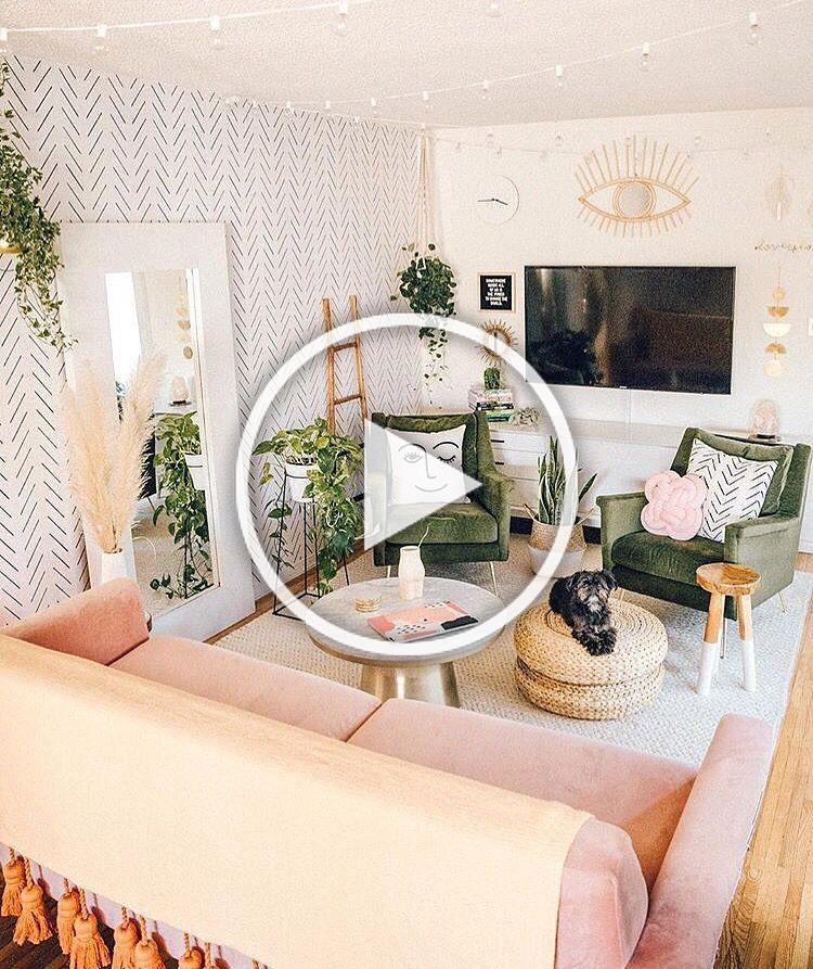 Blush pink and greenery filled minimal boho living room