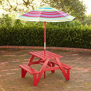 Drill Hole For Umbrella In Pallet Picnic Table Kids Picnic