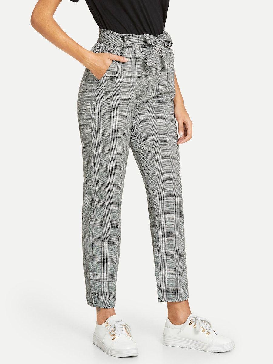 Waist Elastic Belted Plaid Pants Shein Sheinside Plaid Pants Pants For Women Bottoms Pants