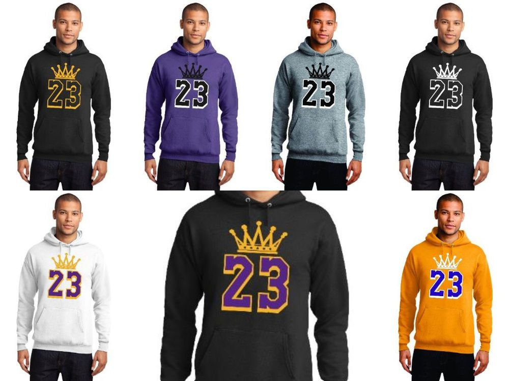 252e24d76643 New LeBron James LA Lakers Crown 23 Hoodie Los Angeles Hooded Sweatshirt  Jersey  PortCompany  LosAngelesLakers